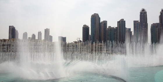 The Dubai Fountains Rehearsal (view from Bookzilla)