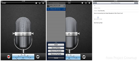 iPad voice recorder screengrab
